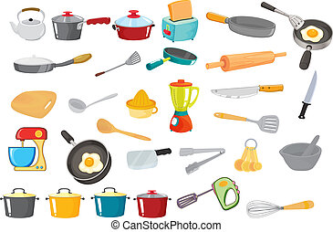 illustration of various utensils on a white