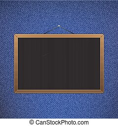 Vector Black chalkboard with brown corners over jeans