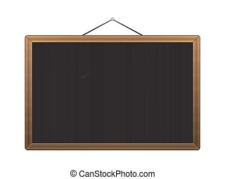 Vector Black chalkboard with brown corners over white