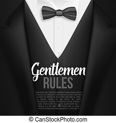 Vector Black Suit. Gentlemen Rules List Template. Realistic Vector Mens Suit