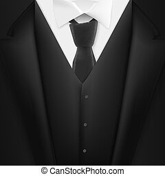 Vector Black Suit. Realistic Mens Tuxedo Suit Succeed Businessman Concept