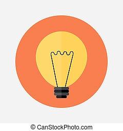 Flat orange lamp icon over red
