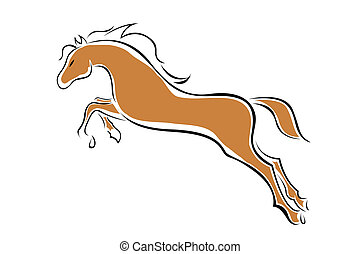 vector horse - illustration of vector horse on isolated...
