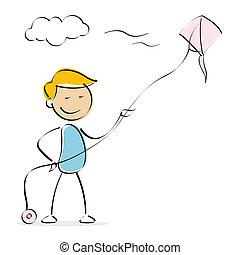vector kid flying kite - illustration of vector kid flying...