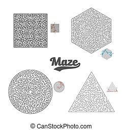 Vector Maze Labyrinth Set