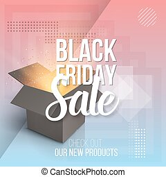 Vector Open Box. Realistic 3D Magic Box on Modern 90s Style Abstract Geometrical Background. Black Friday Sale Poster Template