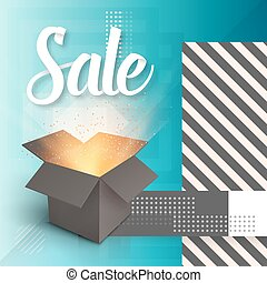 Vector Open Box. Realistic 3D Magic Box on Modern 90s Style Abstract Geometrical Background. Sale Poster Template