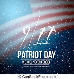 Vector Patriot Day Poster. September 11th National Tragedy Poster on USA Flag Background