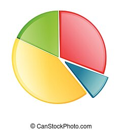 vector pie chart - illustration of vector pie chart on an...