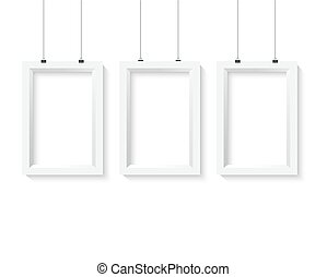 Illustration of Vector Poster Frame Mockup Set. Realistic Vector EPS10 Paper Poster Set Isolated on White Background
