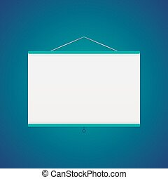 Vector projector screen over blue - Illustration of Vector...