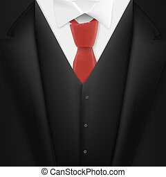 Vector Realistic Black Suit. Photorealistic 3D Mens Elegant Tuxedo Suit with Neck Tie