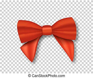 Vector Red Ribbon. 3D Realistic Ribbon Isolated on Transparent Background