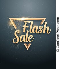 Vector Sale Banner Sticker Template. Flash Sale Lettering with Gold Glitter Effect