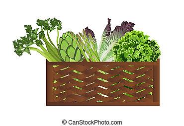 Vegetables in the baske - Illustration of Vegetables in the...