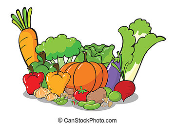 vegetables - illustration of vegetables on a white ...