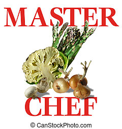 """Illustration of vegetables with wording """"Master Chef"""""""
