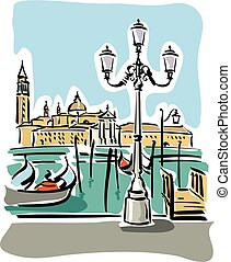 Venice - illustration of Venice with gondolas