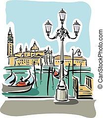 illustration of Venice with gondolas