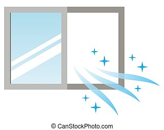 Illustration of ventilating with open windows