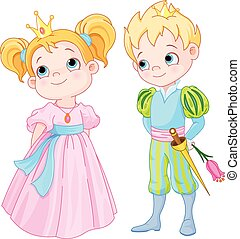 Prince and Princess - Illustration of very cute Prince and...