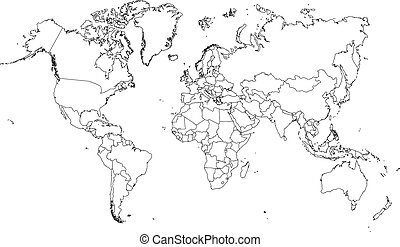 Illustration of very fine outline of the world (with country...
