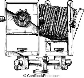 illustration of view camera - Monorail camera. Vector hand...