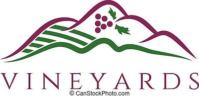 Illustration of vineyards. Vector