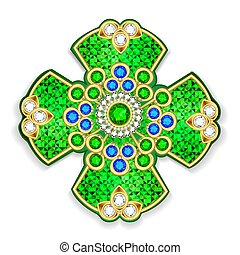 Illustration of vintage brooch cross jewelry gold with precious stones