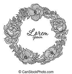 Illustration of vintage flowers vignette
