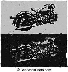 Illustration of vintage motorcycle on dark and light backgrounds