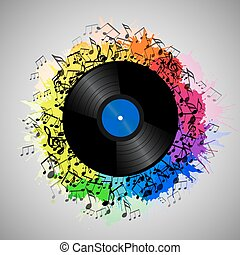 Illustration of vinyl record with music notes and rainbow watercolor splashes. Vector element for presentations, covers and your creativity