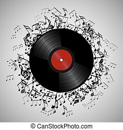 Illustration of vinyl record with music notes. Vector element for presentations, covers and your creativity