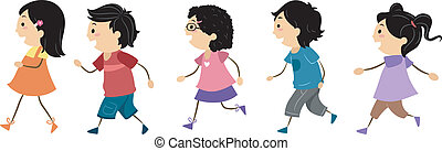 Walking Kids - Illustration of Walking Kids