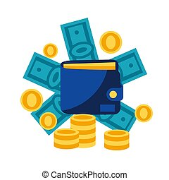 Illustration of wallet and money. Banking concept with ...
