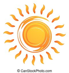 warming sun - illustration of warming sun on white...