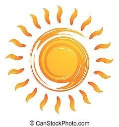 illustration of warming sun on white background