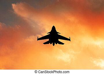 warplane at sunset - illustration of warplane at sunset