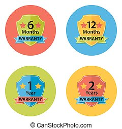 Illustration of Warranty Flat Circle Icons Set 3 with Shadow. 6 months, 12 months, 1 year, 2 years.