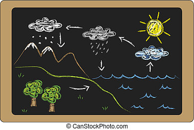 water cycle - illustration of water cycle on blackboard