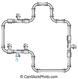 water pipes - illustration of water pipes isolated on white...