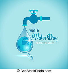 illustration of water tap with the Earth globe inside water drop on blue background