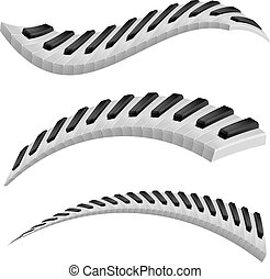 Illustration of wavy piano keys on white background.