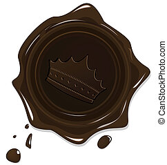 Illustration of wax grunge brown seal with crown isolated on...