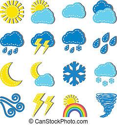 Illustration of weather dashed icons isolated on white background