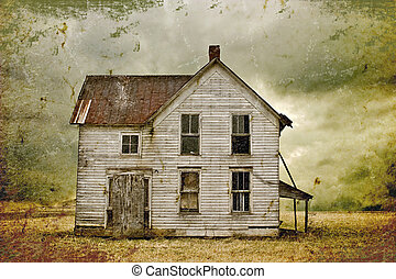 Illustration of weathered abandoned house in remote rural area.