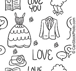 Illustration of wedding element doodles