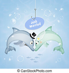 Wedding of dolphins - illustration of Wedding of dolphins