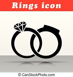 wedding rings vector icon design