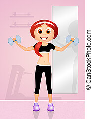 weight lifting - illustration of weight lifting